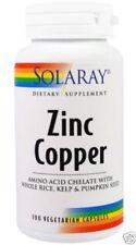 NEW SOLARAY ZINC COPPER AMINO ACID CHELATE WHOLE RICE DAILY BODY CARE HEALTHY