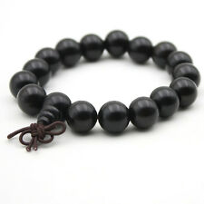 12mm Black Sandalwood Tibet Buddhist Prayer Beads Mala Bracelet