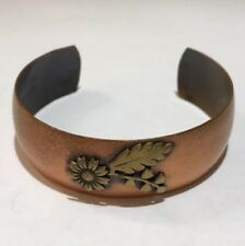 Vintage Genuine Solid Copper Cuff Bracelet With Flower Accent