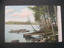 VTG Postcard 1906 Adirondack Mountains Private CAMP Canoe Raft New York NY 77