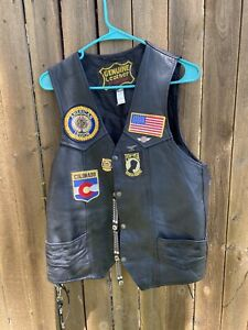 Motorcycle Riding Vintage Genuine Leather Manzoor Bikers Vest Size 44 Patches