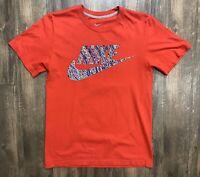 Red Nike T-Shirt Colorful Swoosh Logo Men's Size Small Regular Fit Cotton EUC