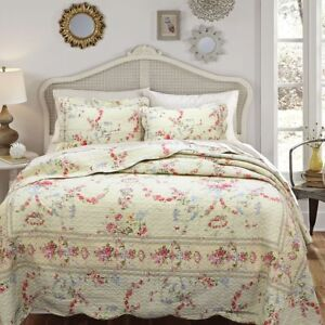 NEW! ~ COZY CHIC COTTAGE VINTAGE ROSE RED BLUE PINK GREEN IVORY WHITE QUILT SET