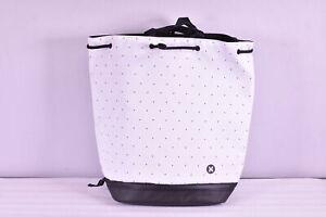 Hurley Solana Convertible Beach Bag with Logo, White & Black Polka Dots