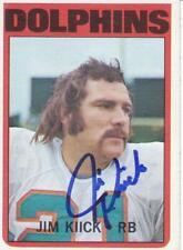JIM KIICK Signed  1972 Miami Dolphins Topps Trading Card  JSA Sticker
