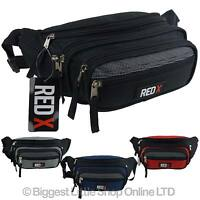 NEW Unisex Canvas LARGE BUM BAG by RED X Travel Fanny Pack Waist 7 Pockets Black