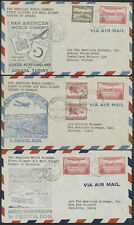 1947 Lot of 3 Newfoundland to Turkey and India Pan-Am Flight Covers, 2 Inserts