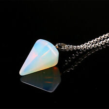 Taper Crystal Pendant Natural Gemstone Necklace Healing Stone Chakra Chain