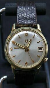 Accutron Bulova 2181 14k Yellow Gold Filled Vintage Mens 34mm FOR REPAIR (L2C)