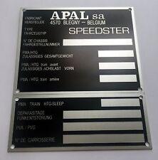 Plaque constructeur BUGGY APAL SPEEDSTER - BUGGY APAL SPEEDSTER vin plate