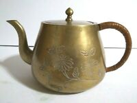 """Brass Teapot Made In China Etched Covered Handle 4"""""""