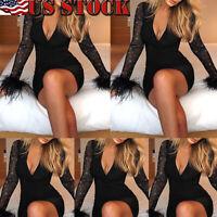 Women Ladies Bandage Bodycon Long Sleeve Evening Party Cocktail Club Mini Dress