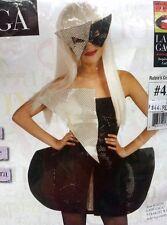 LADY GAGA HALLOWEEN COSTUME, BLACK SEQUIN DRESS & MASK, DRESS SIZE 2-4, MSRP $45