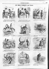 Paris Restaurant Huîtres Hippodrome Jockey Grimshaw Redingote Cham GRAVURE 1866