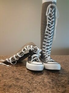 CONVERSE ALL STAR CHUCK TAYLOR GRAY KNEE HIGH LACE UP ZIP SIZE 6.5 WOMENS
