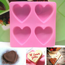 3D Silicone Heart Shape Fondant Cake Mold DIY Craft Soap Candle Mould Tools #A+