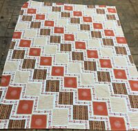 Vintage tablecloth Southwest theme   1970's Orange Browns 68 X 48