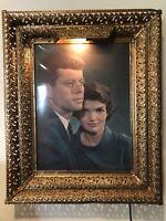 JFK And Jackie Kennedy 1957 Mid-Century 60's Photograph Brass Kitsch Frame 🖼