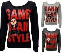 Para Mujer Chicas Gangnam Style Baila Psy Print Manga Larga Sudadera Tops Camisetas S M L