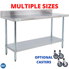 "Work Table 304 Stainless Steel 4"" Backsplash Prep Workstation Optional Casters"