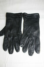 SYNTHETIC LEATHER BLACK WINTER LADIES GLOVES SIZE M BUTTON DESING