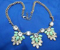 "Turquoise color white rhinestone washed gold tone estate 18"" necklace"