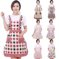 Women Floral Print Apron Pocket Cooking Kitchen Restaurant Home Bib Baking Dress