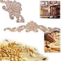 1PC Wood Carved Corner Onlay Applique Frame Decor Furniture Art Craft Unpainted