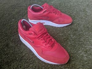 NIKE Air Max 1 Premium SC Jewel Suede Leather Sneakers - Gym Red - W10 M 8.5