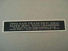San Francisco 49ers Super Bowl 29 Nameplate For A Football Jersey Case 1.25 x 6