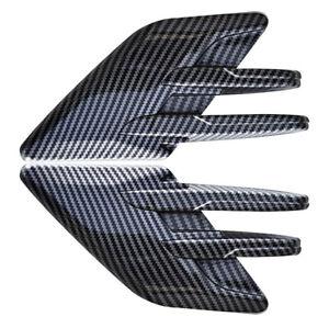 Car Side Fender Stickers Air Flow Vent Cover Bonnet Trim Carbon Fiber Style 2Pcs
