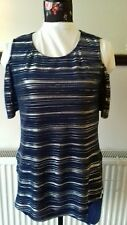 BNWT-InStyle-femme bleu nuit/argent à Rayures Top-Taille S/M