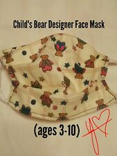 Children's little bears cloth face mask with white back ties for ages 3-10