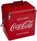 Vintage Beverage Cooler Ice Box Tin Lunch Box 3.5 Gal Red Metal Coke Coca Cola