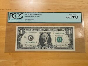 1988-A $1 Fr. 1916-L FRN Fancy Serial Number Binary 04404000 PCGS GEM New 66PPQ