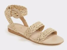 BNIB Aldo Arionna Woven Flat Sandal with Ankle Buckle Fastener Gold Uk 7