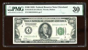 DBR 1928 $100 FRN Cleveland Numeral Fr. 2150-D PMG 30 Serial D00194484A