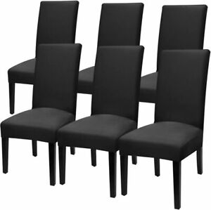 Fuloon Super Fit Stretch Removable Washable Short Dining Chair Cover *6-PACK*