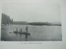 """Antigua Impresión 1907 Pesca Vintage imagen """"en un noruego River"""" De Pesca Con Mosca"""