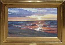 """Sunset at Baltic Sea""  oil on board, listed artist Irek T. Szelag"