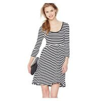 LADIES BLACK AND WHITE STRIPE SKATER FLARED DRESS IN SIZES 12,14 OR 16 BNWT
