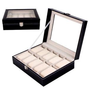 Watches Box Display Case PU Faux Leather Watch Jewelry Storage Organizer New
