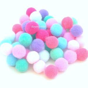 POM POMS Plush Soft Balls Pastel Colours 10mm Mix Party Garment Craft Supplies