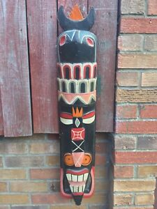 HUGE WOODEN TRIBAL WALL MASK - HAND CARVED HAND PAINTED - 100CM