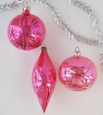 Set 3 Icicle Ball Glinka Vintage Xmas Decor Christmas Russian Glass Ornament_