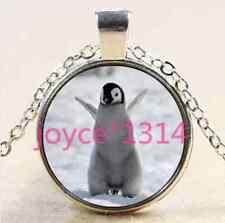 Vintage Penguin Cabochon Tibetan silver Glass Chain Pendant Necklace #2514