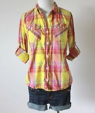 MOSSIMO Plaid Checkered Utility Long Sleeve Button Up Collar Shirt Blouse Top M