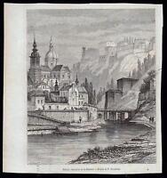 BELGIO BELGIUM NAMUR XILOGRAFIA DA LE MAGASIN PITTORESQUE 1868