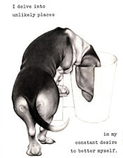 BASSET HOUND CHARMING DOG GREETINGS NOTE CARD, CUTE COMIC DOG #2