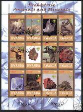 manueduc  BLOQUE 12 Sellos PREHISTORIA  Animales y Minerales RWANDA  2009